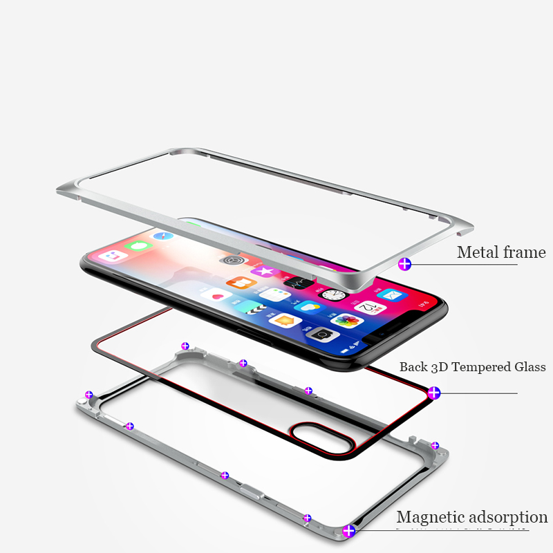 Suntaiho Magnetic Adsorption Phone Case for iPhone X case for iPhone 7 8 Standing Square Magnetic Tempered Glass back Phone case