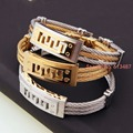 3 Styles New Brand High Quality Stainless Steel Punk Gold Plated Buckle Twist Cable Wire Men Bangle Bracelet Jewelry
