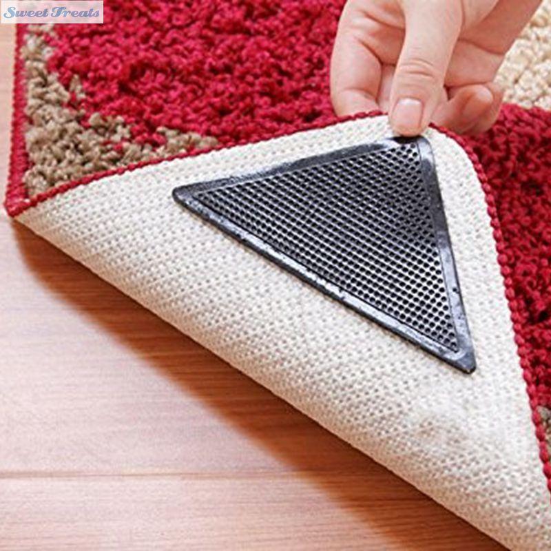 Washable Rugs Non Slip: Sweettreats 4pcs Rug Carpet Mat Grippers Non Slip Reusable