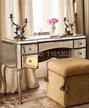MR Antique gold rimming Mirrored drawers vanity