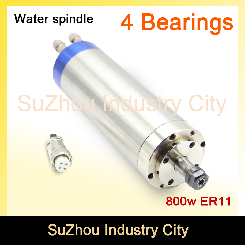 Sale ! 220V 0.8KW ER11 CNC Water Cooled Spindle Motor woodworking CNC milling spindle motor  65x195mm  4 Bearing Blue Type ! cnc 2 2kw water cooled er20 germany four bearing bearing spindle motor engraving milling grind