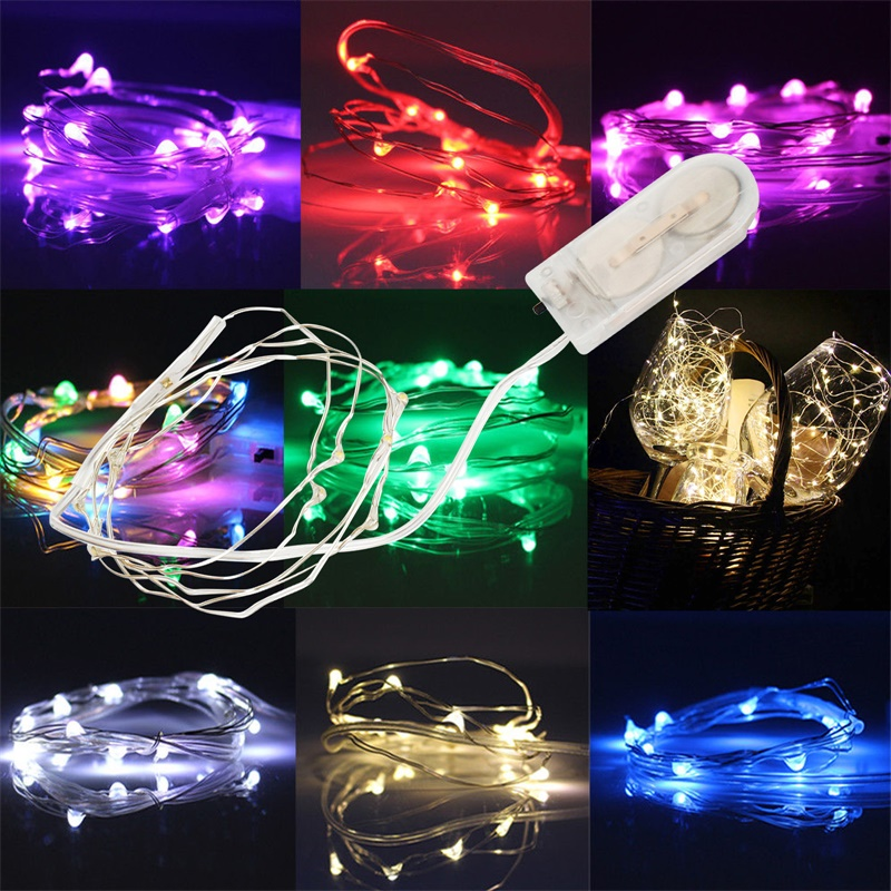 2M 20LEDS Fairy Light CR2032 Battery Powered LED Mini Christmas Light Copper Wire String Light For Wedding Xmas Garland Party