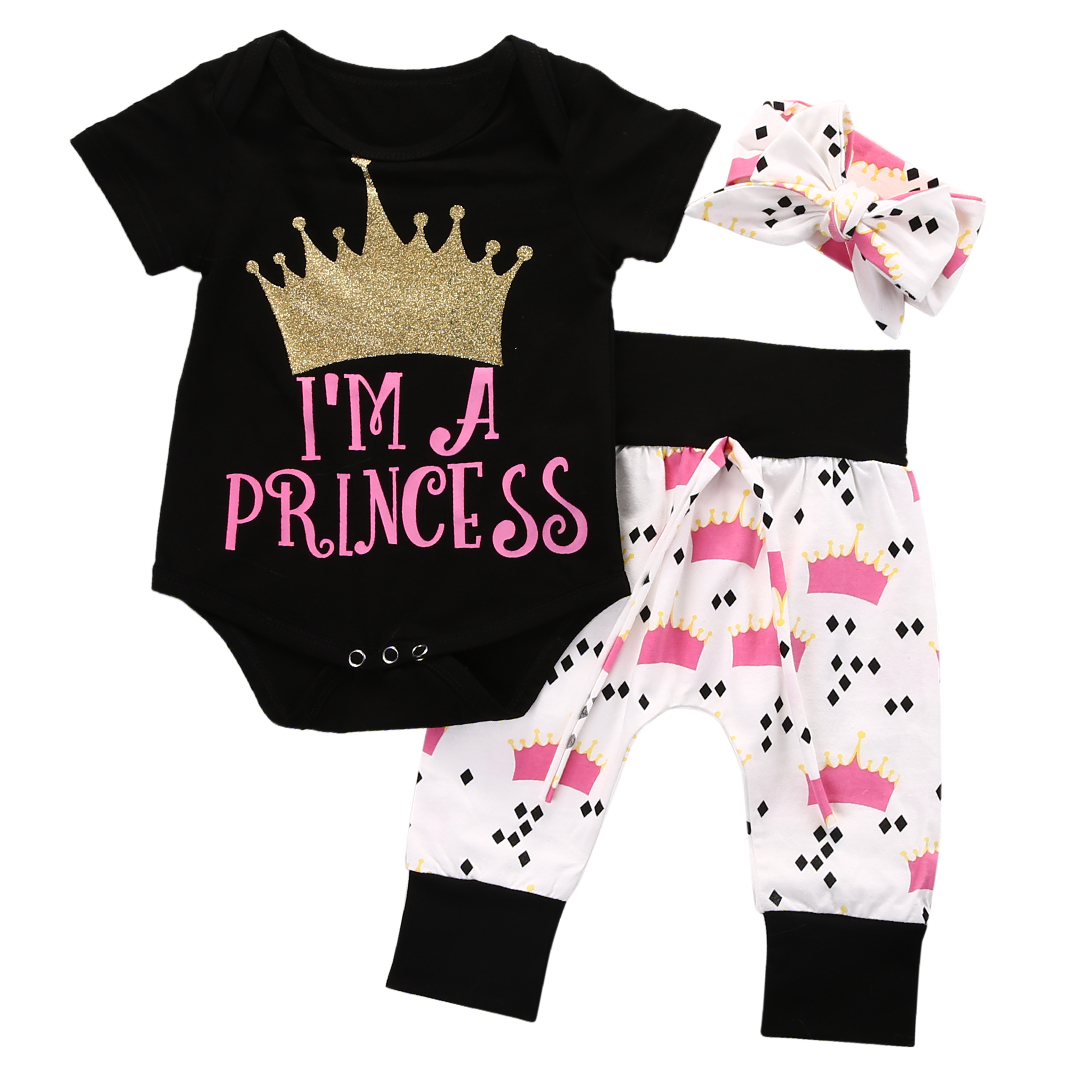 2017 Baby Girls Clothes Set Princess Crown Bodysuit Romper Pant Headband 3PCS Outfit Toddler Kids Clothing Bebek Giyim 0-18M 2017 floral baby romper newborn baby girl clothes ruffles sleeve bodysuit headband 2pcs outfit bebek giyim sunsuit 0 24m