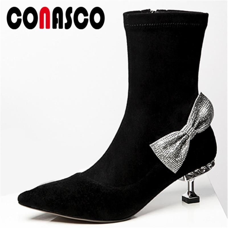 3c7739102bb526 Bal Chaussures Bout Dames Papillon Talons Strass Femme Pointu De Noir Femmes  Haute Mariage Conasco Parti Bottes ...