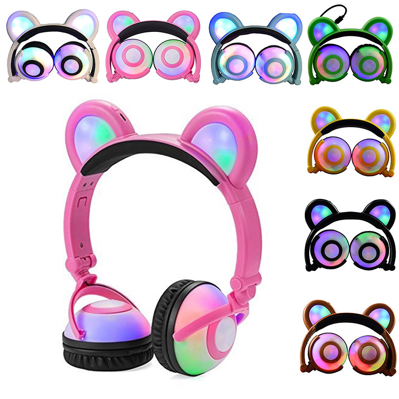 Cat Ear Headphone with Glowing Ears 3.5mm Ear Headphone Cats Earphone Flashing Headset Gaming Earphones for PC Computer phone foldable cat ear headphones gaming headset earphone with glowing led light for phone computer best halloween gift for girls kids