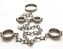 Male Female Stainless Steel Bondage Dog Slaves BDSM Chain Devices Collar Neck Ring Oval Handcuffs Shackles Fetters Sex Toy