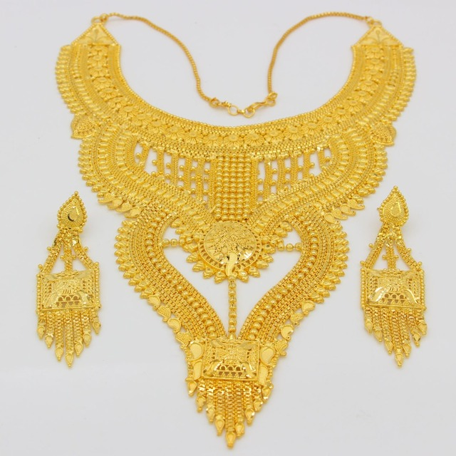 African Jewelry Set High Quality Gold Color/Copper Necklace Earrings Set Luxury Arab Dubai Wedding Party MOM/Girlfriend Gifts