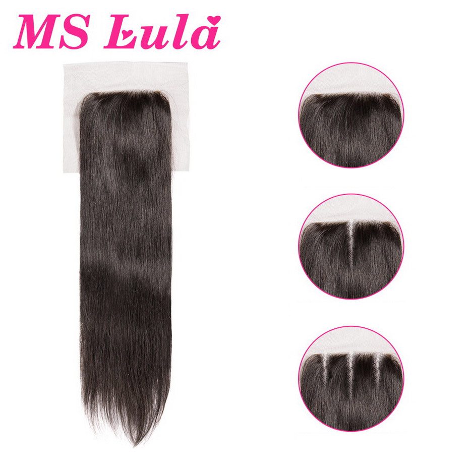 MS Lula Hair 4x4 Lace Closure Brazilian Remy Hair Straight With Baby Hair Human Hair Natural