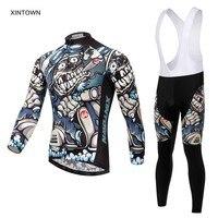 Xintown Mens Cycling Jerseys Set Long Sleeves MTB Jersey Pad Bike Bicycle Jacket Sets Shirts Wear