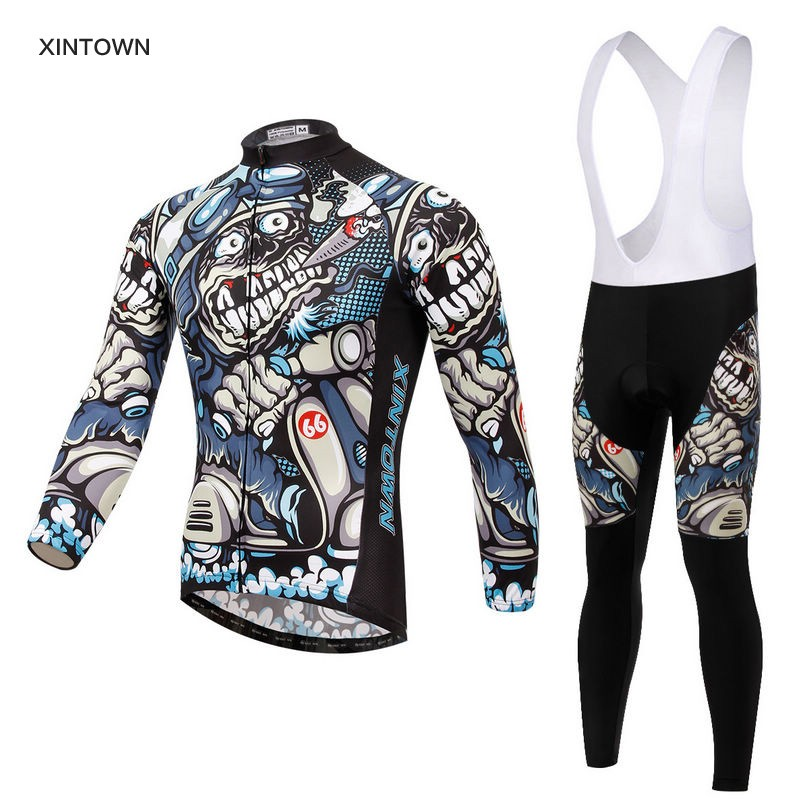 Xintown Mens Cycling Jerseys Set Long Sleeves MTB Jersey Pad Bike Bicycle Jacket Sets Shirts Wear Uniforms Cigar Skull S-4XL life on track cycling clothings bike bicycle jerseys long lasting wolf graphic women long sleeves ergonomic designs tops shirts