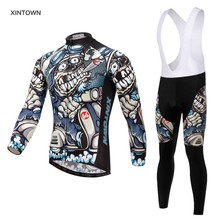 Xintown Mens Cycling Jerseys Set Long Sleeves MTB Jersey Pad Bike Bicycle Jacket Sets Shirts Wear Uniforms Cigar Skull S-4XL