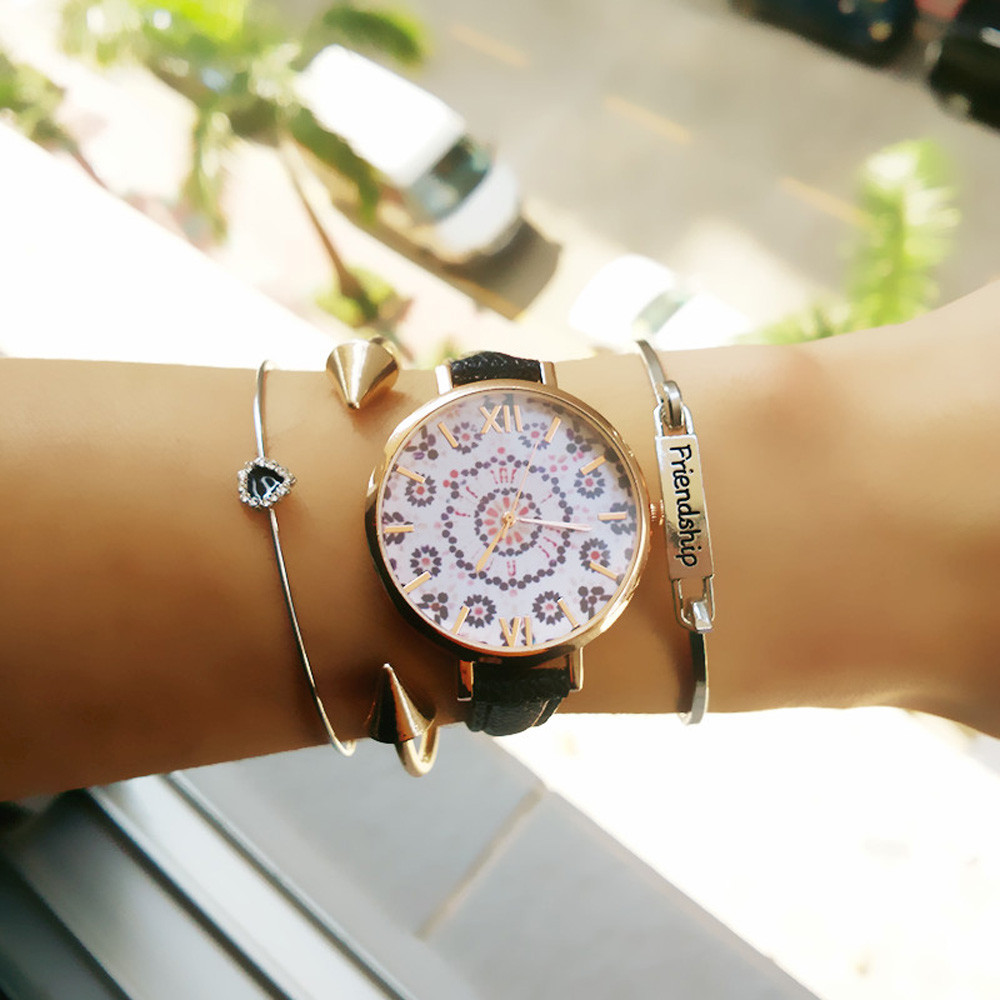 Feitong New Vintage Dress Watches Women Floral Pattern PU Leather Band Quartz Wrist Watch relogio feminino Relogio relojes mujer