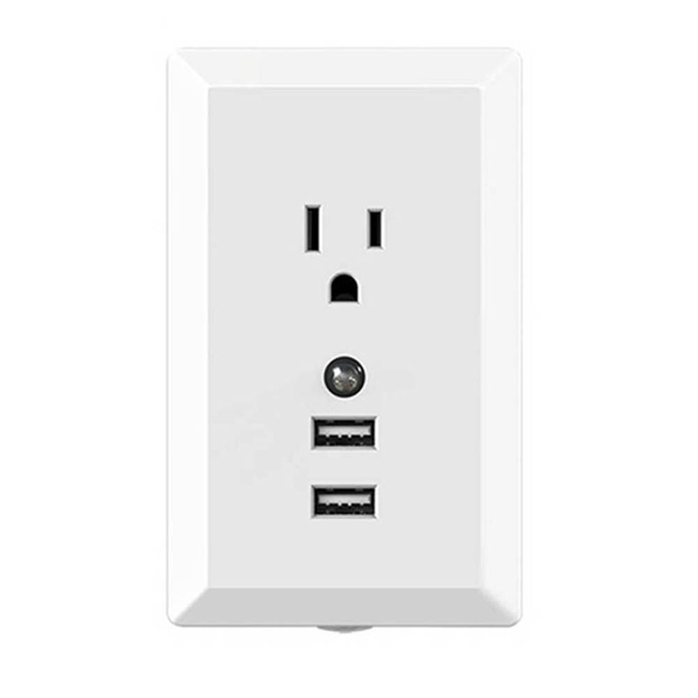 US Plug Wall Socket With Motion Sensor Light 2 4A Smart Dual USB Quick  Charge For Apple iPhone iPad Android Mobile Phone QJY99-in USB Gadgets from