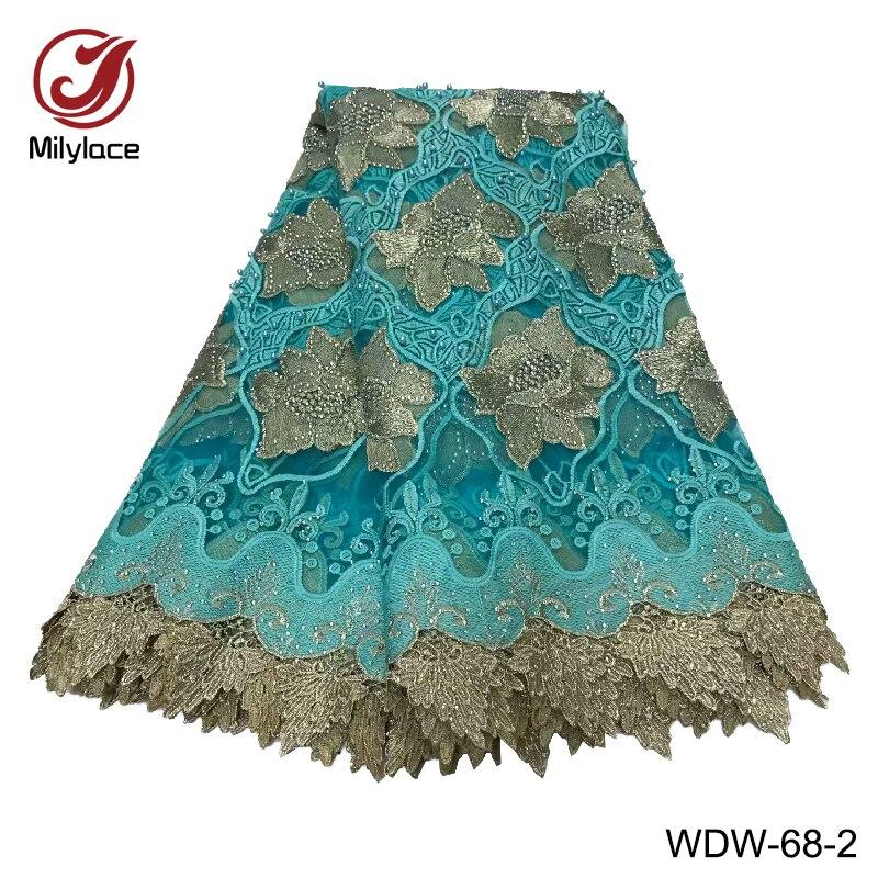 Tissu de dentelle africaine de haute qualité avec strass deux couleurs mélangé tulle français net dentelle tissu pour les vêtements des femmes WDW 68-in Dentelle from Maison & Animalerie    3