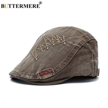 BUTTERMERE Flat Cap Hat Men Washed Denim Embroidery Gatsby Ivy Male Pattern Vintage Army Green Autumn Driver Hats And Caps
