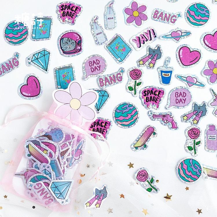 100 Pcs/pack Cat Planet Organza Bag Decorative PVC Stickers Adhesive Laser Stickers DIY Decoration Craft Scrapbooking Stickers