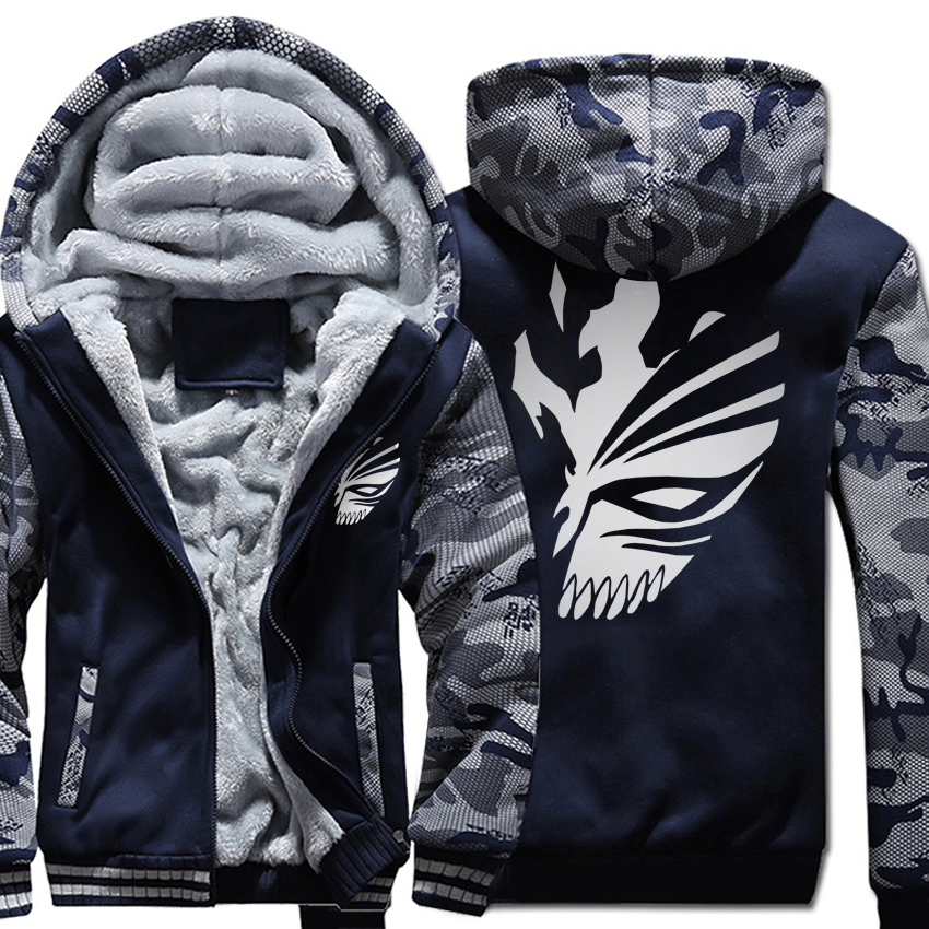 Men's Sportswear Harajuku Hoodies 2018 Hot Winter Fleece Raglan Hoody Print BLEACH Kurosaki Ichigo Punk Cool Sweatshirts Men