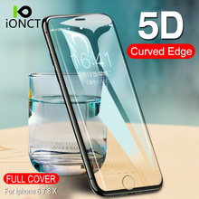 Ionct 5D 9H Hardness Screen Protector Tempered Glass for Iphone 6 6s plus Protective Glass on iphone 7 8 plus X Glass Film