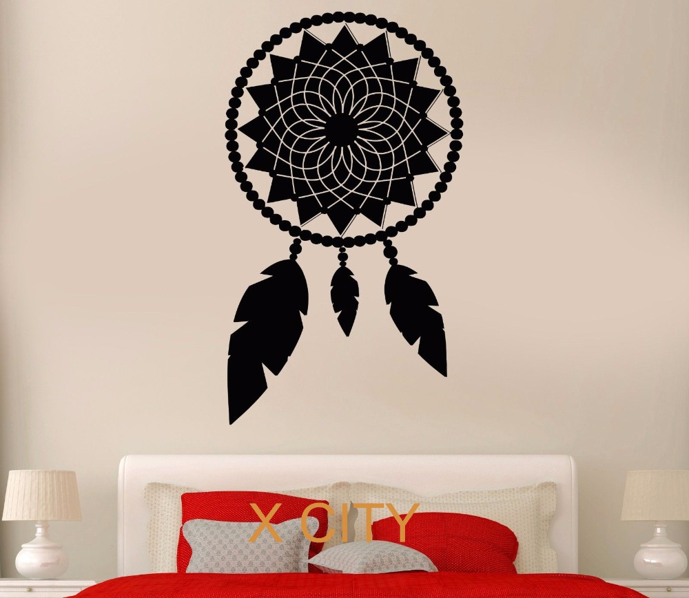 aliexpress com buy black wall decal dreamcatcher flower butterfly wall stencil window stickers decals
