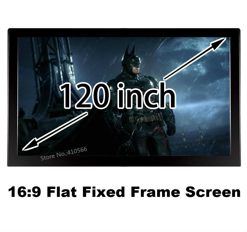 Professional Factory Supply 120 Inch Diagonal Cinema Projector Screens 16:9 HD Flat Fixed Frame Projection Screen Fast Shipment low price 92 inch flat fixed projector screen diy 4 black velevt frames 16 9 format projection for cinema theater office room