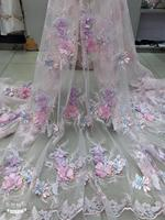 1yard light pink 3d lace fabric with 3d florals, French lace fabric for haute couture, heavy beading lace fabric with flowers