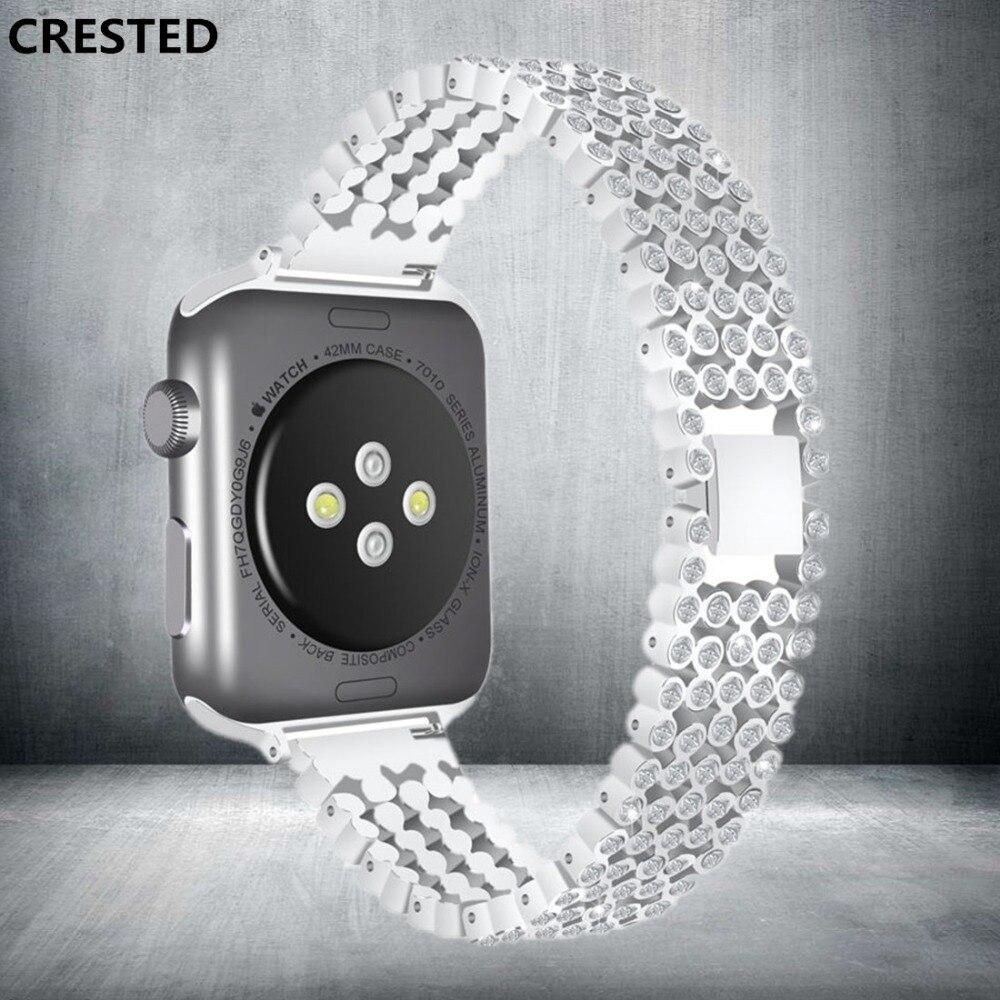 CRESTED Diamant Strap Für Apple Uhr band serie 4 44mm 40mm Luxus Stilvolle Kristall iWatch 3 2 1 42mm/38mm armband armband