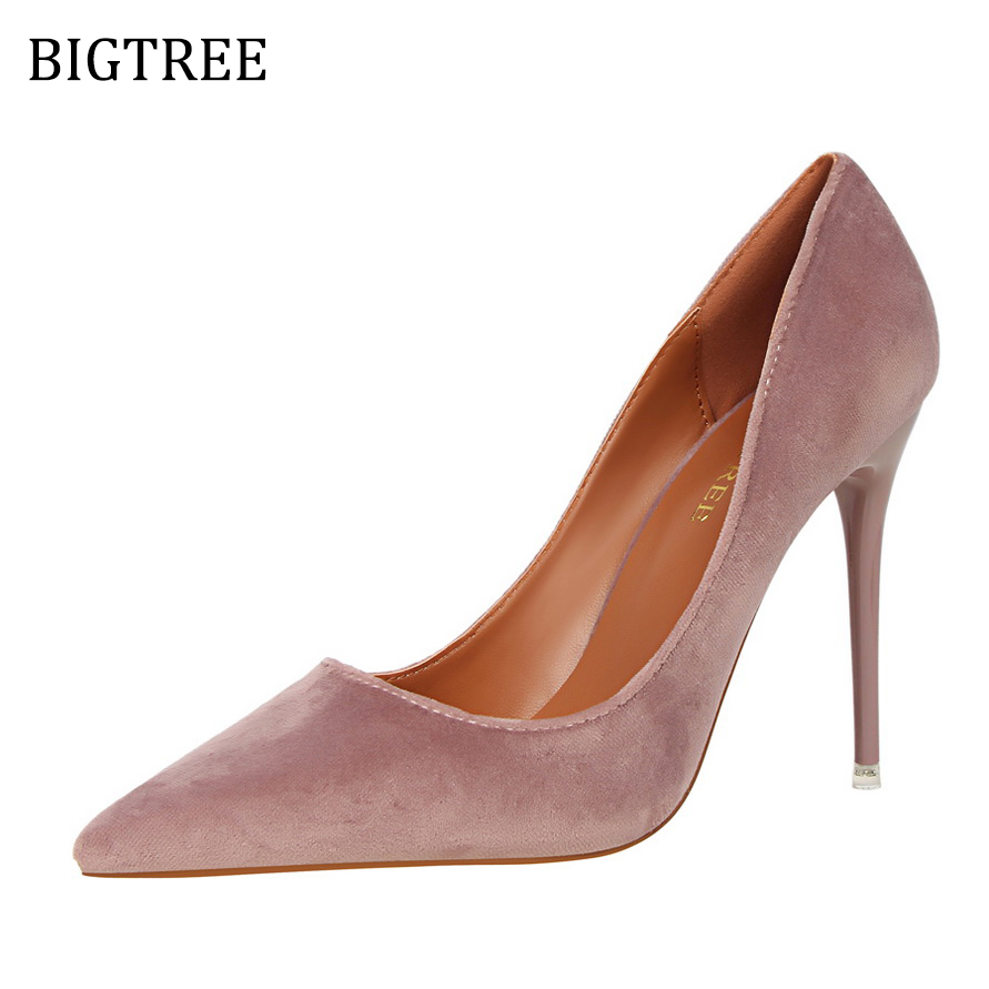 Size34-39 2017 Autumn Flock Shoes Women Pumps Slip On High Heels Pointed Toe Ladies Shoes Sexy Zapatos Red Purple Green Orange стоимость