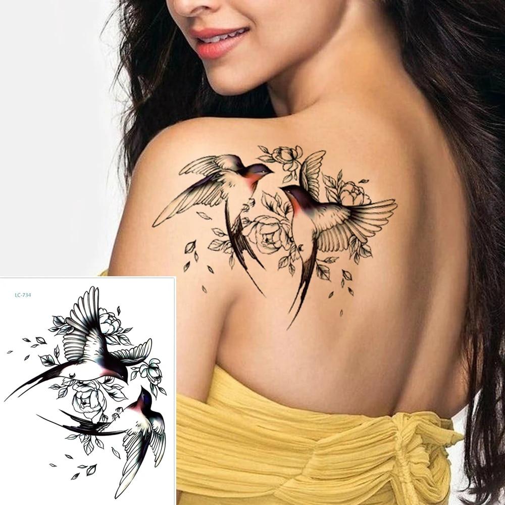 Big Flower arm tattoo Temporary Tattoo Sticker Sparrow/Magpie Fake Tatoo  Sleeve Flash Tatto Waterproof Body Art Women sexy girls Temporary Tattoos   - AliExpress