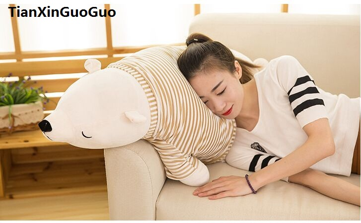stuffed toy large 105cm cartoon prone polar bear dressed cloth plush toy down cotton soft doll throw pillow birthday gift s0514 huge 105cm prone tiger simulation animal white tiger plush toy doll throw pillow christmas gift w7973