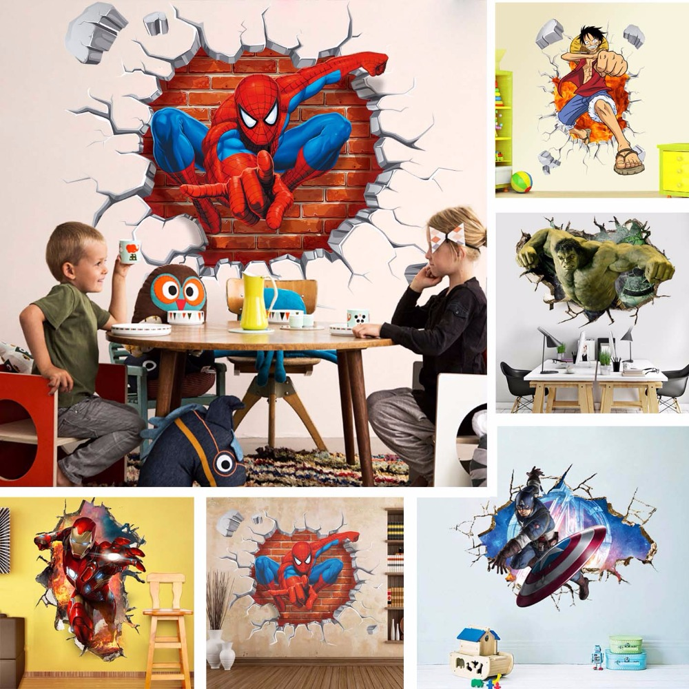 Classic Toys Stickers Can be reused ONE PIECE Anime Figure LUffy Marvel Avenger Spiderman Captain America Sticker for Room Decor