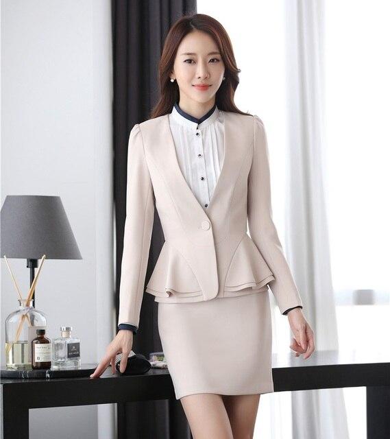 946ab0546f65 Moda Casual Albicocca Blazer da Donna Gonna Abiti Abbigliamento Da Lavoro  Giacca Set Signore Ufficio Stile