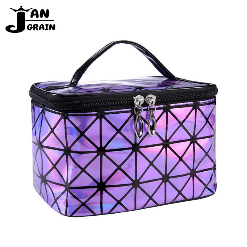 Fashion Cosmetic Bag Women Functional PU Leather Travel Make Up Paillette Organizer Zipper Makeup Case Pouch Toiletry Kit Bag new women fashion pu leather cosmetic bag high quality makeup box ladies toiletry bag lovely handbag pouch suitcase storage bag