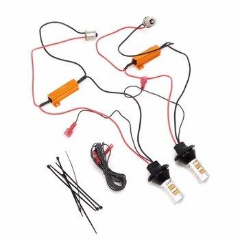 1 para BAU15S PY21W T20 podwójny kolor biały/bursztynowy żółty światło kierunkowskazu LED + wolne od błędów Canbus z rezystorem DRL Auto auto lamp switchback ledsignal light -