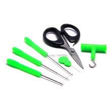 SAMS Baiting Needle Set Carp Fishing Bait Tool Kit 6 Piece Hook Load Rig Knot Puller Fish Tackle Scissors Drill Splicer