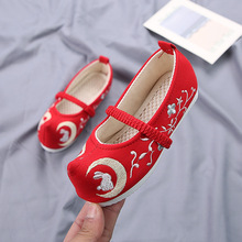 2019 New Embroidered Kids Shoes for Girls Fashion Children Canvas Sneakers Breathable Baby