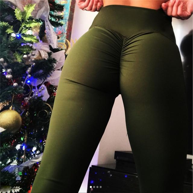 SALSPOR Solid Standard Fold Yoga Pants Women High Waist Push Up Tight Fitness Leggings Gym Women Running Workout Sport Leggings 5