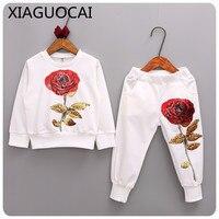 Yeni Gelenler Çocuk Setleri Uzun Kollu T-Shirt + pantolon 2 Adet Boy Kız Giyim Gül desen Kazaklar Sportwear B100 koşu Suits 10