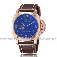 2017 Luxury 3 Colors Steel Automatic Classic Skeleton Golden Wristwatch Waterproof Retro Leather Strap Men Business Watch Gifts