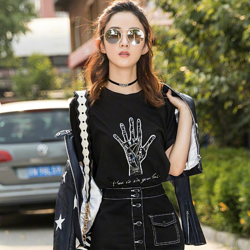 High Quality Summer Casual Black Arm Print Top Shirts Women 2018 Sarafan Short Sleeve O Neck Tee Shirts Women Streetwear T Shirt