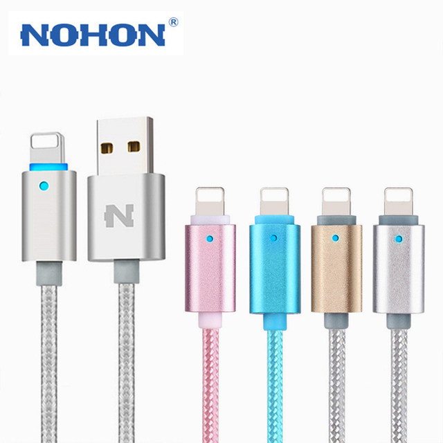 new style 5160a f7991 US $4.99 |Original NOHON LED Lighting Cable 8Pin USB Charging Cable For  Apple iPhone 7 6 6S Plus 5 5S iPad iPod Data Sync Smart Power Off-in Mobile  ...