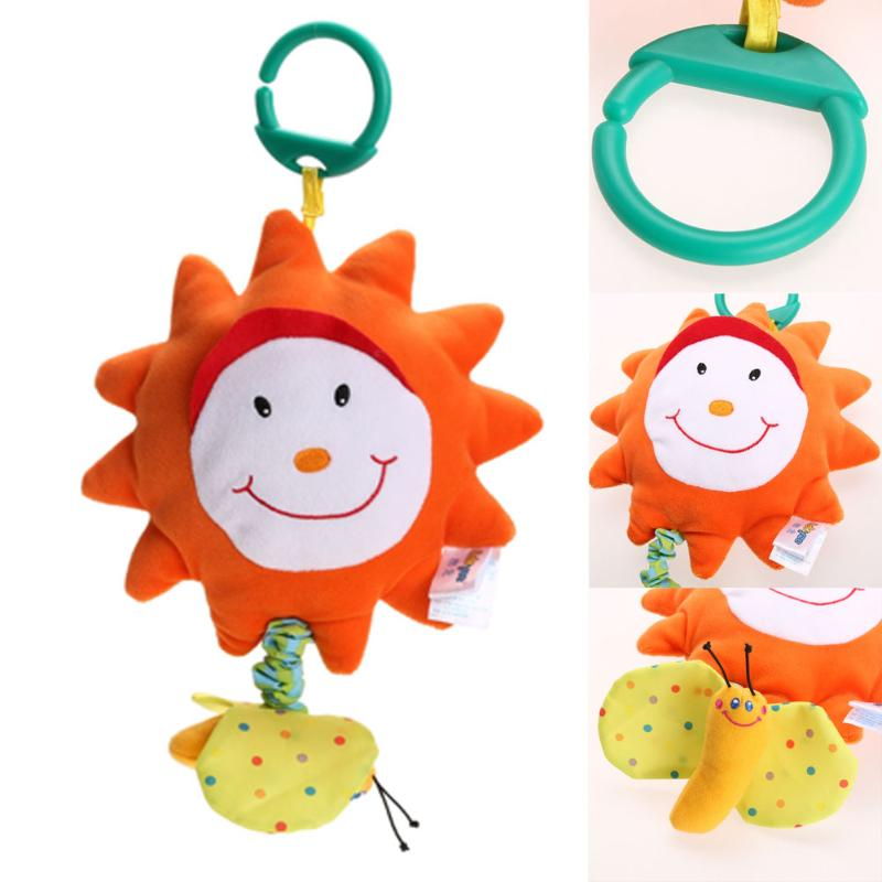 New Baby Plush Toy Baby Rattles Crib Bed Hanging Ring Bell Lion Toy Sun Flower Soft Early Educational Doll Hand Music Toy Gift