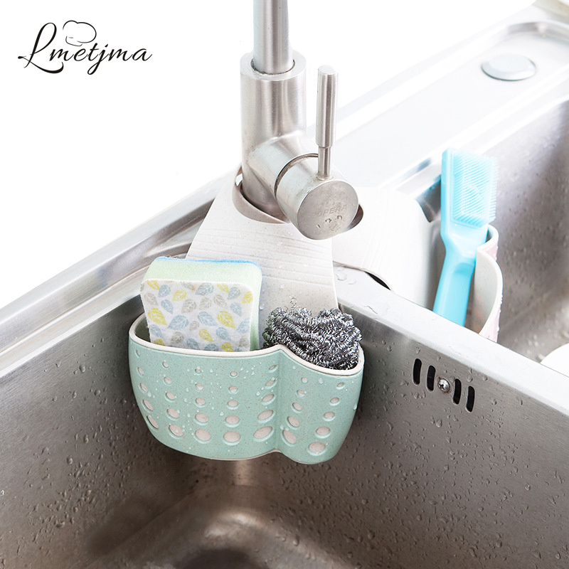 LMETJMA Kitchen Sponge Drain Holder Wheat Fiber Sponge Storage Rack Basket Wash Cloth Or Toilet Soap Shelf Organizer KC0608-2