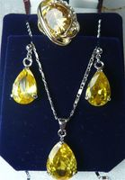 Желтый кристалл посеребренные Серьги кольцо (#7.8.9) кулон комплект ювелирных изделий> * 18 К с позолотой кварцевые часы оптом камень CZ кристалл