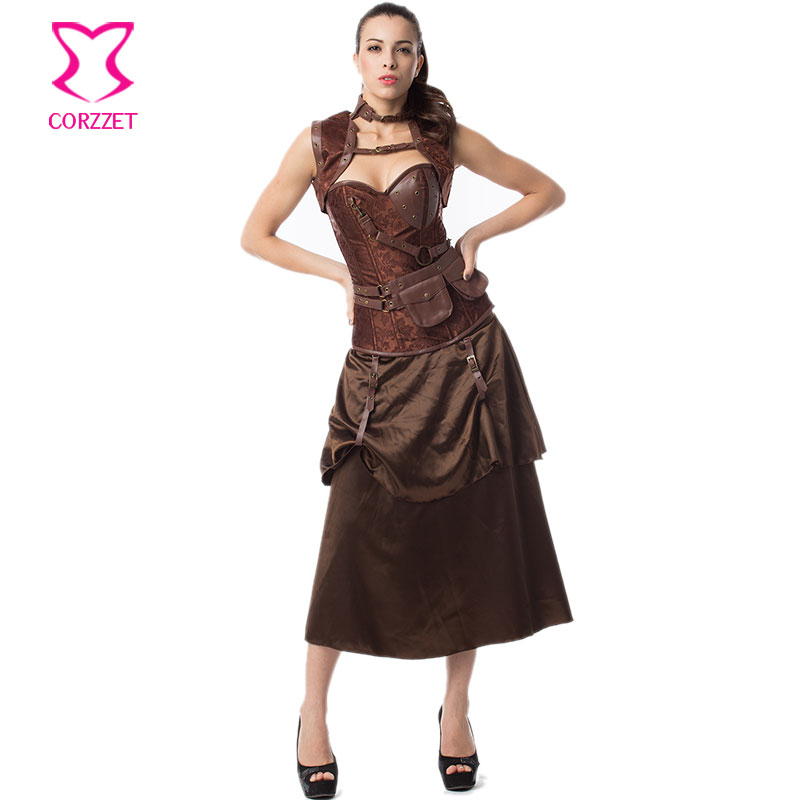 Brown Floral Brocade Steel Boned Overbust Bustier Corset Top Skirt Set Steapunk Couture Gothic Clothing Korsett For Women Sexy