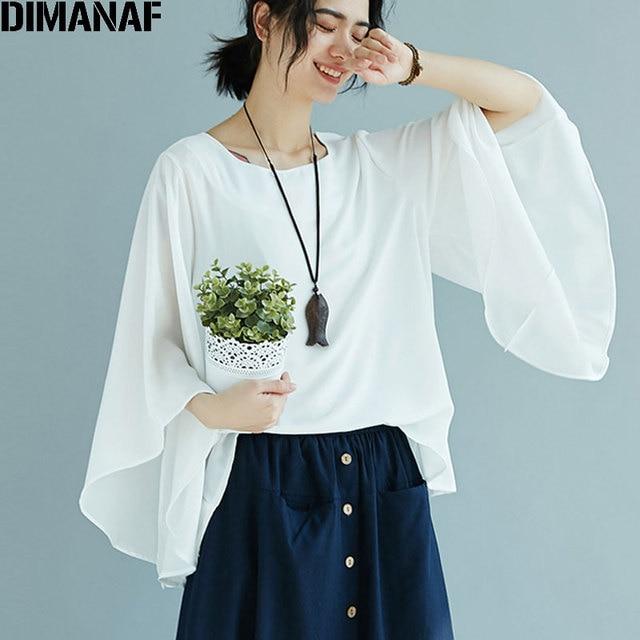 DIMANAF Women Linen T-Shirt Plus Size Basic Summer 2018 Flare Sleeve Irregular Casual Female Loose Elegant Lady Black Tops&Tees