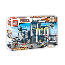 New Enlighten 951Pcs City Series Mobile Police Headquarters Model Building Kit Minifigure Blocks Brick Toy