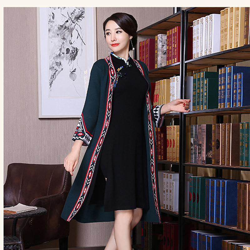 New Black Woolen Open Stitch Jacket Coat Traditional Chinese Women O-Neck Outwear Novelty Knitting Warm Spliced Clothing