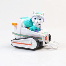 New Paw Patrol Dog Everest Puppy Pull Back Music Car Patrulla Canina  Toys PVC Doll Action Figure Model Toy Kid Gift