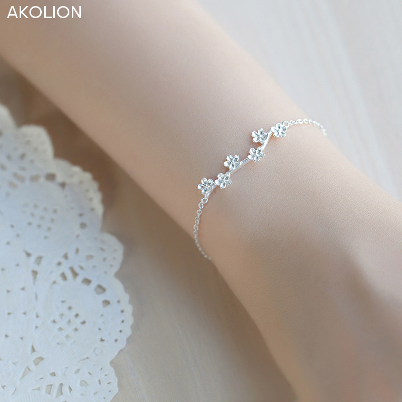 AKOLION Wholesale Silver Plum blossom branches Bracelet 925 Sterling jewelry Cha