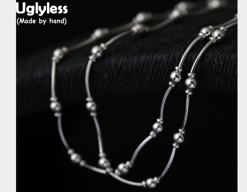 Uglyless Real S 925 Sterling Silver 90CM Long Chains Sweater Necklaces for Women Handmade Beading Statement Dress Jewelry Bijoux wallpapers youman 3d brick wallpaper wall coverings brick wallpaper 3d embossed non woven background roll desktop home decor